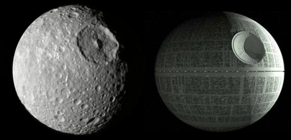 Mimas compared to the Death Star from Star Wars